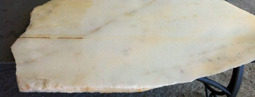 Previously stained marble totally cleaned after treatment