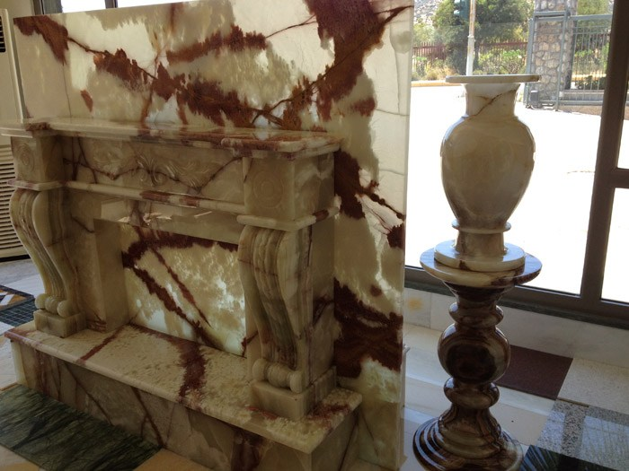fireplaces made from marble granite and onyx alfa marble co s a rh alfamarble gr Marble Fireplace Onyx Vanity